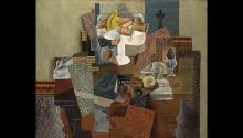 """Pablo Picasso (Spanish, 1881 - 1973). Still Life with Compote and Glass, 1914–15. Oil on canvas, 25 x 31"""". 1931.087. Columbus Museum of Art, Columbus, OH. © 2013 Estate of Pablo Picasso / Artists Rights Society (ARS), New York   Gift of Ferdinand Howald."""