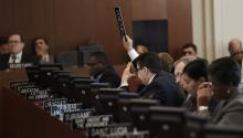 El viceministro de Relaciones Exteriores deVenezuela, Samuel Moncada, pide la palabra.EFE/LENIN NOLLY.