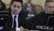 """El viceministro para América del Norte deVenezuela, Samuel Moncada, afirmó este miércoles 19 de abril que la Organización de los Estados Americanos (OEA) es la """"sala de comando"""" para """"estimular la violencia"""" en su país.EFE/Juan Manuel Herrera"""