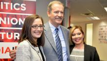 Former Mexican PresidentVicenteFox with Director ofPhiladelphia Office of Immigrant Affairs,Miriam Enriquez, and Deputy MD of Community Services,Joanna Otero-Cruz,during a photoshoot at the AL DIA News.Photo: Peter Fitzpatrick/AL DIA News