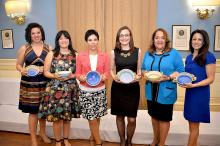 "Tiffany Tavarez, Yasselin Diaz, Alicia Kerber-Palma, Miriam Enriquez, Maria Vizcarrondo, and Raquel Arredondo are awarded ""Women at the Top"" at the Raquet Club in downtown Philadelphia. Photo: Peter Fitzpatrick/AL DIA News"
