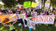 Members of Philadelphia based organization Juntos protest outside the Berks County immigrant detention center, July, 2015. Courtesy Photo
