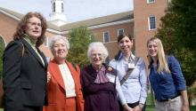 (L to R) Anne Kinney, NASA Goddard Space Flight Center, Greenbelt, Md.; Vera Rubin, Dept. of Terrestrial Magnetism, Carnegie Institute of Washington; Nancy Grace Roman Retired NASA Goddard; Kerri Cahoy, NASA Ames Research Center, Moffett Field, Calif.; Randi Ludwig. University of Texas, Austin, Texas.Photo: NASA Wikimedia Commons