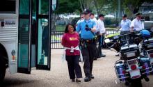 La activista Carmen Guerrero, de Norristown, fue una de las arrestadas durante una manifestación de inmigración en Washington D.C. Foto de Harvey Finkle