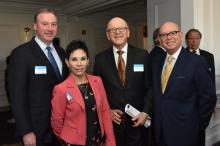 Michael Innocenzo, new CEO at PECO (Left), with the Consul of Mexico in Philadelphia, Alicia Kerber, the Chairman of the Pan American Association, Abelardo Lechter, and the General Counsel for PECO, Rommy Diaz. (Photo Courtesy AJC/ALDIA).