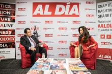 Claudia Romo Edelman of the We Are All Human Foudnation visited AL DÍA on July 31 and spoke with AL DÍA CEO Hernán Guaracao. Photo: Harrison Brink / AL DÍA News