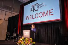 Loraine Ballard Morrill emcees the second annual AL DÍA 40 Under Forty event. Photo: Peter Fitzpatrick/AL DÍA News.