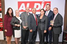 From left to right: Advisory Board Member Sharon Lopez, Award winner Carmen Garcia, Award winner William Gonzalez, Hon. Judge Juan Sánchez, Advisory Board Member Jacqueline C. Romero, Advisory Board Member Hector Ruiz, Award winner Daniel Mateo. Photo: Peter Fitzpatrick/AL DÍA News.
