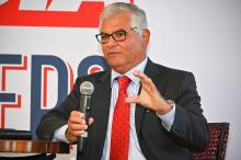 The Honorable Juan Sánchez speaks at the AL DÍA Lawyers Forum on Oct. 1. Photo: Peter Fitzpatrick / AL DÍA News