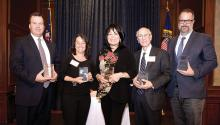 The 2018 honorees, (from left to right) Judge L. Felipe Restrepo, Alba Martinez, Dr. Gloria Bonilla-Santiago, Dr. Jose Russo, and Peter Gonzales. Photo: Peter Fitzpatrick
