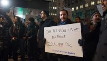 Protesters against US President-elect Donald Trump's chief strategist Steve Bannon gather and chant outside the 2016 Zionist Organization of America Annual Dinner, in New York, New York, USA, 20 November 2016. EFE/Bryan R. Smith
