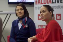 Karla Cabrera and Heidi Rodriguez, leaders of the Philadelphia chapter of American Airlines' Latin Diversity Network, helped organize a relief effort for those affected by Hurricane Maria in Puerto Rico. Photo: Yesid Vargas / AL DÍA News