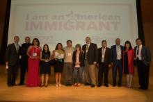 The honorees of the I am an American Immigrant project pose with Pennsylvania Auditor General Eugene DePasquale and Philadelphia Councilwoman Helen Gym. (Simón Bolívar)