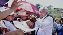 The Mexican presidential candidate Andrés Manuel López Obrador (R), upon his arrival at a formal ceremony in the municipality of Santiago Ixcuintla, in Nayarit (Mexico). EFE/Candidate's press team