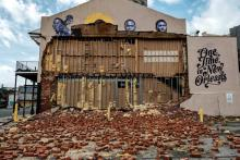 The iconic Morris Music store destroyed by Hurricane Ida.