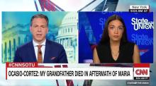 "Alexandria Ocasio-Cortez castigates Donald Trump on Hurricane Maria and calls the U.S.-Puerto Rico relationship ""colonial."" Source: CNN"