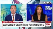 "Alexandria Ocasio-Cortez castigates Donald Trump on Hurricane Maria and calls the U.S.-Puerto Rico relationship ""colonial."" Source: CNN"