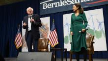 DES MOINES, IA - NOVEMBER 09: Democratic Presidential candidate Bernie Sanders (I-VT) and U.S. Rep. Alexandria Ocasio-Cortez (D-NY) field questions from audience members at the Climate Crisis Summit at Drake University on November 9, 2019 in Des Moines, Iowa. (Photo by Stephen Maturen/Getty Images)