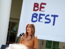 "MelaniaTrump speaking about her ""Be Best"" initiative. Photo Credit: Andrew Hamik/AP"