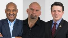 U.S. Congressman Dwight Evans, Braddock Mayor and Democratic candidate for Lt. Governor John Fetterman, U.S. Congressman Brendan Boyle. Samantha Laub / AL DÍA News