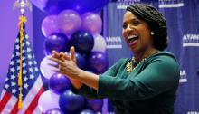 Ayanna Pressley delivers her victory speech Tuesday night in Dorchester, Massachusetts. Joseph Prezioso/AFP - Getty Images