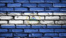 Flag of Nicaragua painted on a wall