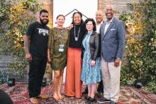 Black & Brown Founders is a nonprofit organization that focuses on building community and providing resources to Black and Latinx entrepreneurs. Shown here are the Black & Brown Founders staff (from left):  Andre Davis, Liane Dutton, Aniyia Williams, Deldelp Medina, Kevin Williams, and Thom Webster. Photo courtesy of Black & Brown Founders