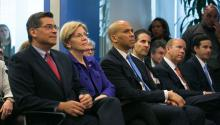 From left to right, Congressman Xavier Becerra; Senator Elizabeth Warren; Senator Cory Booker; Congressman John Sarbanes Congressman John Delaney (Panelist) on April 6, 2016, at a meeting with  former Secretary of Labor Thomas E. Perez. Photo: US Labor Department/Wikipedia