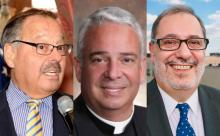 Judge Nelson Diaz (left) and Rev. Luis Cortés (right) are two of the many local Latino leaders who are excited to see the first Latino Archbishop in Philadelphia history, Archbishop Nelson Pérez (center).