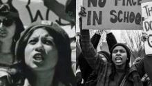 A demonstrator of the brown berets (L) (1968); a young woman demonstrates in favor of tougher laws on gun control (2018)