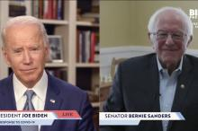 Joe Biden is joined on a live stream for his campaign by Bernie Sanders.