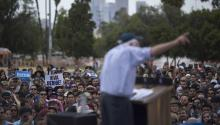 EAST LOS ANGELES, CA - MAY 23: Democratic presidential candidate Sen. Bernie Sanders addresses a heavily-Latino crowd during a campaign rally at Lincoln Park on May 23, 2016 in East Los Angeles, California. (Photo by David McNew/Getty Images)