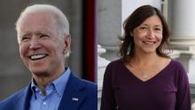 Presidential candidate and former Vice President Joe Biden (left) and César Chávez's granddaughter, Julie Chávez Rodríguez (right)