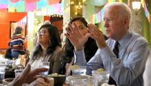 Los Angeles (USA), 20/12/2019.- The candidate for the Democratic candidacy for the presidential elections Joe Biden, Joe Biden, speaks during a lunch with Latino businessmen in a Mexican restaurant in Los Angeles, California (USA). EFE/Ana Milena Varón.