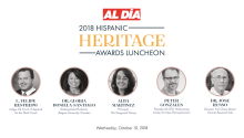 These are the 5 honorees of AL DIA's Hispanic Heritage Award 2018. Event to recognize them will take place October the 10th, at The Philaldelphia Union League.