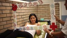 Mexican Azzarisha Duran donates blood, during the World Blood Donor Day in Mexico City, Mexico on June 14, 2017. EFE/Sashenka Gutiérrez