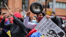 Thousands of people have taken to the streets of the main Colombian cities on Tuesday to protest against the policies of the government of President Iván Duque. This image corresponds to what happened in the center of Bogotá, shortly after noon. The demonstrations are expected to continue into the night. Today commemorates the Cry of Independence of 1810. Alexa Rochi