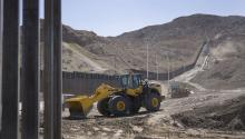 SUNLAND PARK, NM - JUNE 1: Construction teams work on a border wall that We Build The Wall Inc. is installing on June 1, 2019, in Sunland Park, New Mexico. (Photo by Joe Raedle/Getty Images)