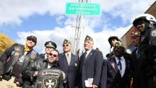 "Latin American Post 840 of the American Legion and Puerto Rican veterans gathered for the historical unveiling of the 65th Infantry ""Borinqueneers"" Avenue in Philadelphia. Photo: Samantha Madera/AL DÍA News"
