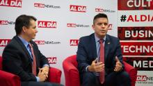 Rep. Brendan Boyle and President of Casa de Venezuela Fernando Torres visited the AL DÍA Newsroom on Aug. 23. (Samantha Laub / AL DÍA News)
