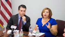Rep. Brendan Boyle (D-PA) hosted a roundtable discussion with Rep. Linda Sánchez (D-CA) in May. John N. McGuire / AL DÍA News