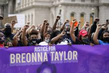 "Rally in Kentucky: ""Justice for Breonna Taylor""."
