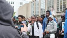 Brian Burney at school district rally. Photo: Dominique Johnson/Al DÍA News