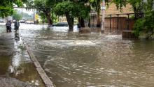 Flooded street after heavy rains caused by the La Niña phenomenon