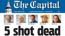 Front page of the Capital Gazette this Friday, June 29, 2018, a day after an attacker entered its facilities with a shotgun, taking the lives of 5 people.