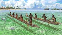Los comerciantes caribeños se acercan a una isla en las Bahamas, parte de una antigua red de intercambio que une las islas antes de la llegada de los españoles.Photo: National Geographic