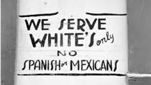 Signs like this hung in Californian establishments in the early 1940s. Via Latino USA.