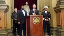 During a press conference at Philadelphia's City Hall, Casey was joined by Councilman Kenyatta Johnson, who introduced a resolution urging new and tougher federal regulations for trains carrying crude oil.