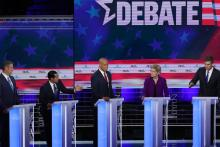 (L-R) Rep. Tim Ryan (D-OH), former housing secretary Julian Castro, Sen. Cory Booker (D-NJ), Sen. Elizabeth Warren (D-MA) and former Texas congressman Beto O'Rourke take part in the first night of the Democratic presidential debate on June 26, 2019, in Miami, Florida. Photo by Joe Raedle/Getty Images