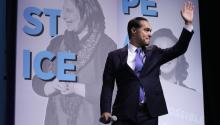 WASHINGTON, DC - OCTOBER 28: Democratic presidential candidate and former housing secretary Julian Castro takes the stage during the J Street National Conference at the Walter E. Washington Convention Center October 28, 2019 in Washington, DC. (Photo by Chip Somodevilla/Getty Images)